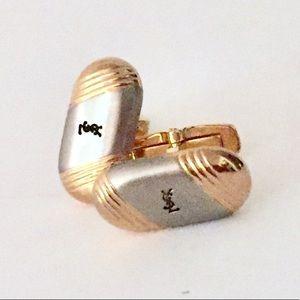Yves Saint Laurent Cuff Links Gold Silver YSL Logo